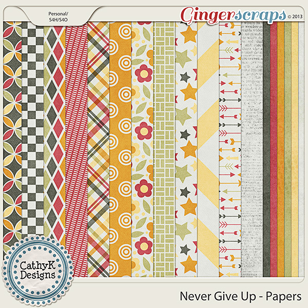 Never Give Up Papers: by CathyK Designs