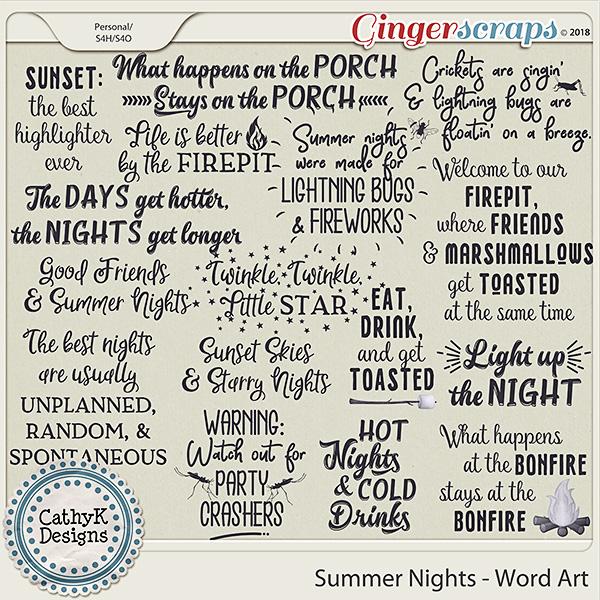Summer Nights - Word Art by CathyK Designs