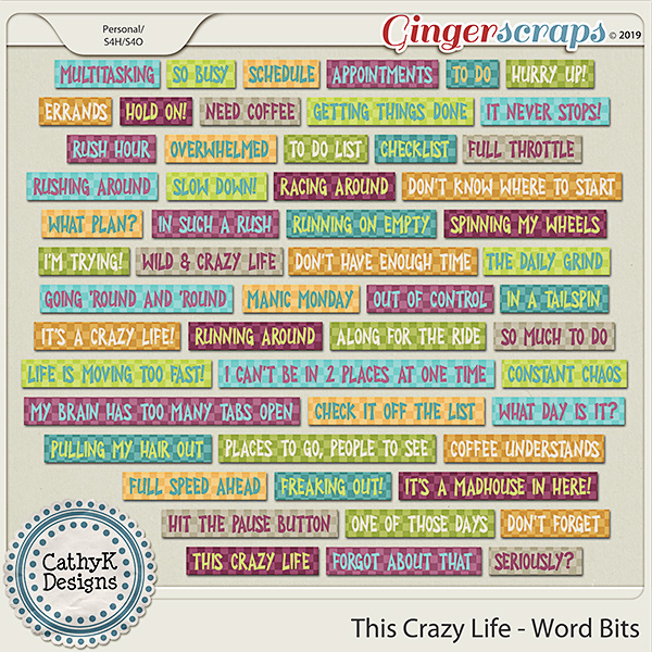 This Crazy Life - Word Strips by CathyK Designs