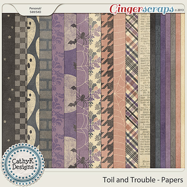 Toil and Trouble Papers: by CathyK Designs