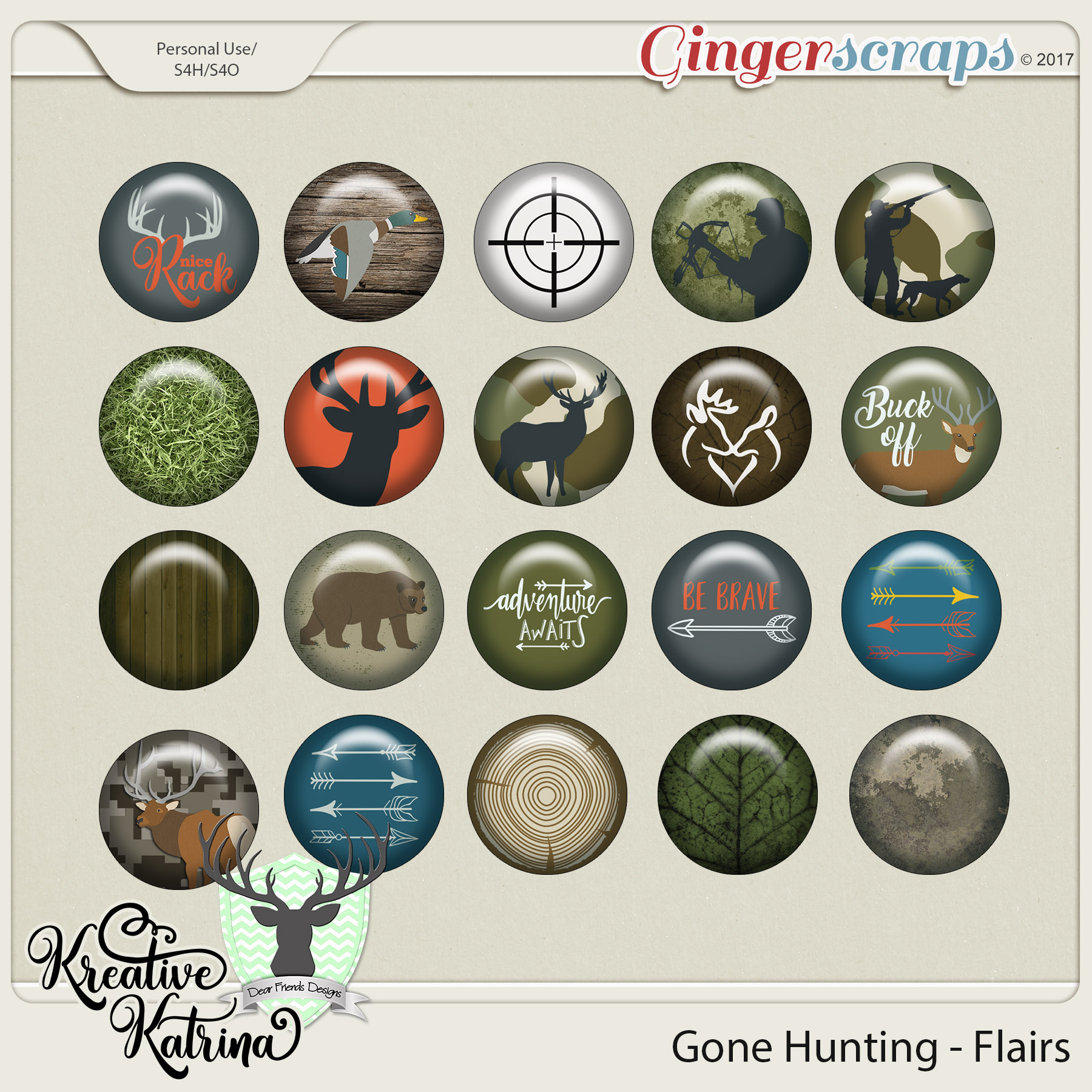 Gone Hunting Flairs by Dear Friends Designs