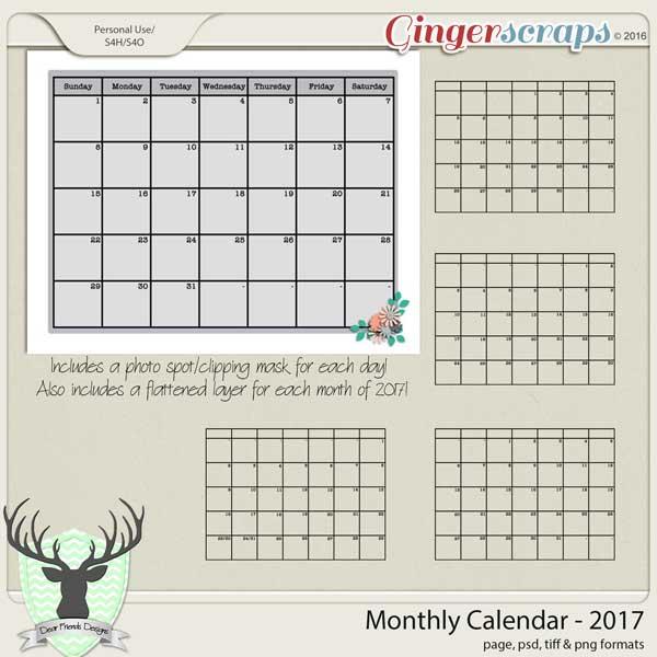 Monthly Calendar-2017