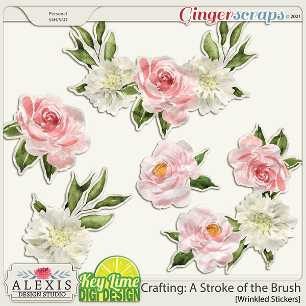 Crafting: A Stroke of the Brush Stickers by Alexis Design Studio and Key Lime Digi Design