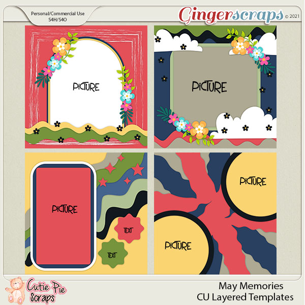 May Memories -Cu Layered Templates Set By Cutie Pie Scraps