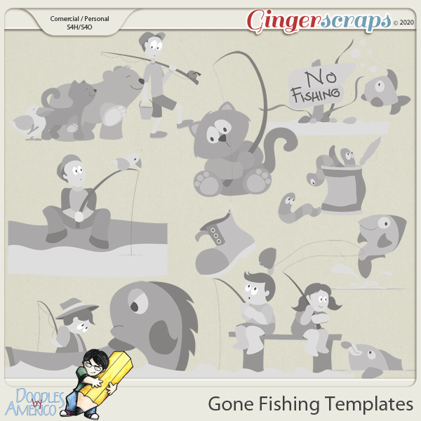 Doodles By Americo: Gone Fishing Templates