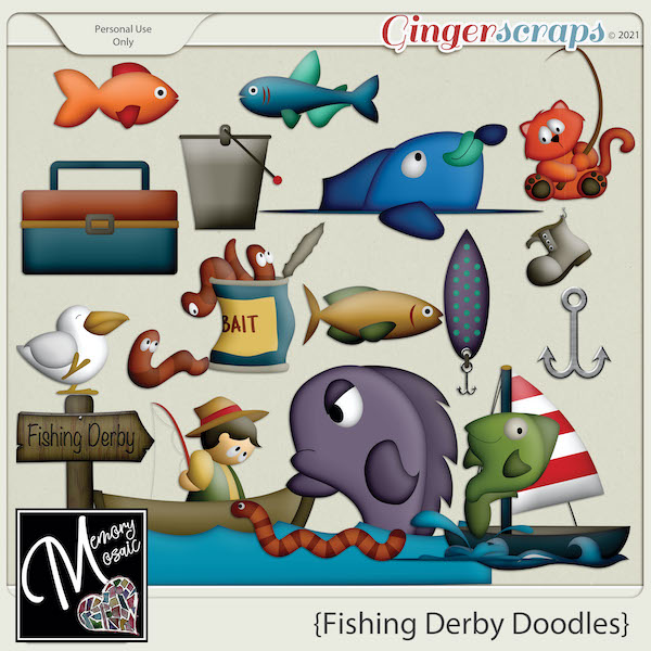 Fishing Derby Doodles by Memory Mosaic