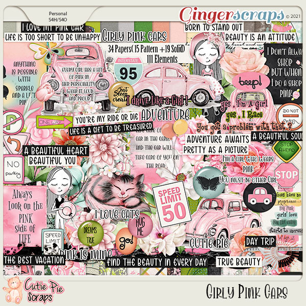 Girly Pink Cars Page Kit