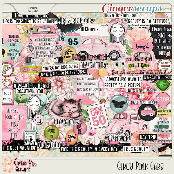 Girly Pink Cars Elements