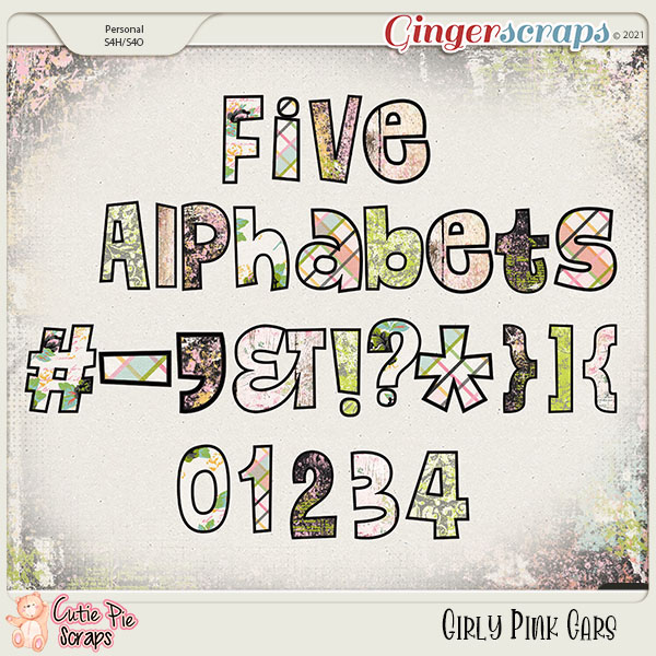 Girly Pink Cars Alphabets