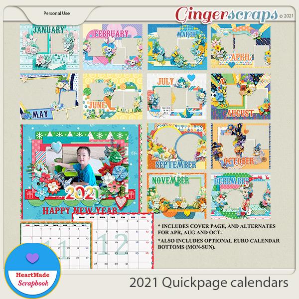 2021 Quickpage calendars by HeartMade Scrapbook