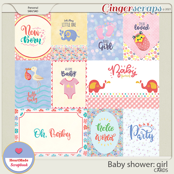 Baby shower: girl - cards