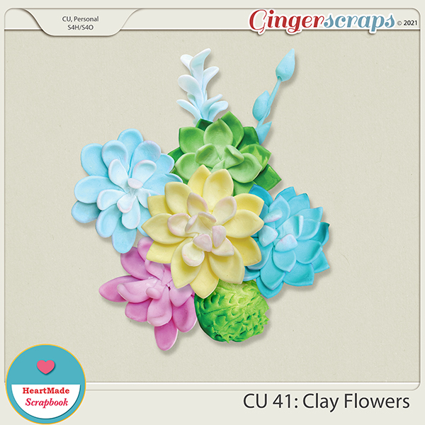 CU 41 - Clay flowers - succulents