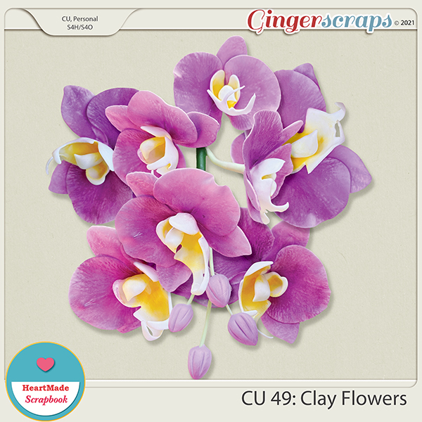 CU 49 - Clay flowers - orchid