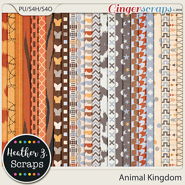 Animal Kingdom PATTERN PAPERS by Heather Z Scraps