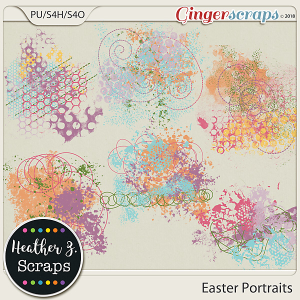 Easter Portraits PAINT AND SCRIBBLES by Heather Z Scraps