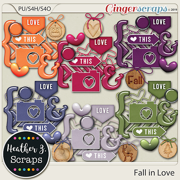 Fall in Love ACCENTS by Heather Z Scraps