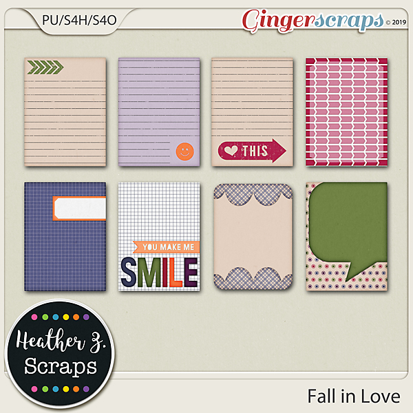 Fall in Love JOURNAL CARDS by Heather Z Scraps