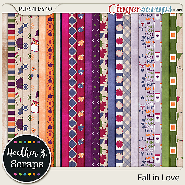 Fall in Love PAPERS by Heather Z Scraps