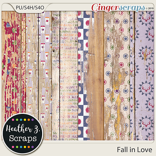 Fall in Love WEATHERED WOOD by Heather Z Scraps