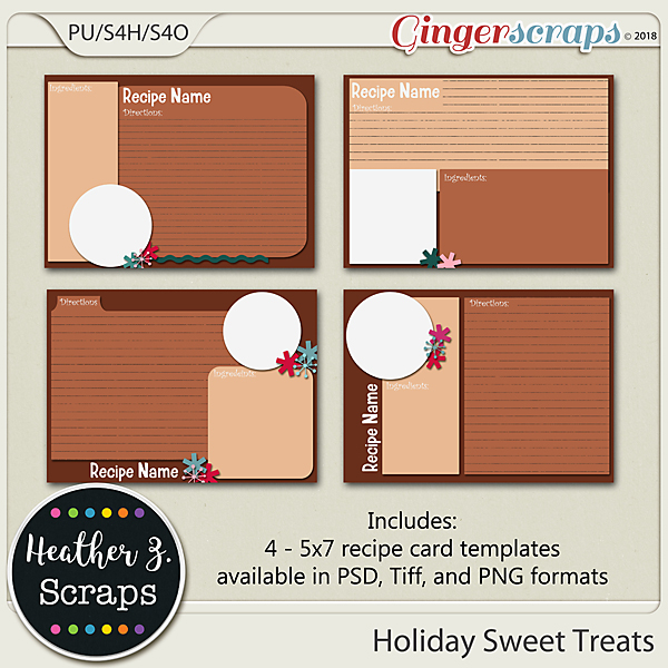 Holiday Sweet Treats RECIPE CARD TEMPLATES by Heather Z Scraps