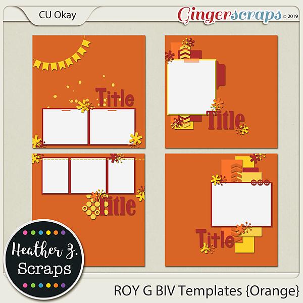 ROY G BIV TEMPLATES ORANGE by Heather Z Scraps