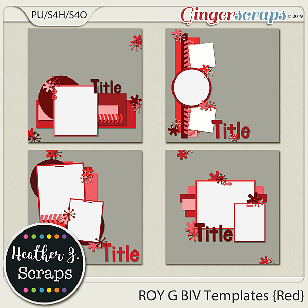 ROY G BIV TEMPLATES RED by Heather Z Scraps