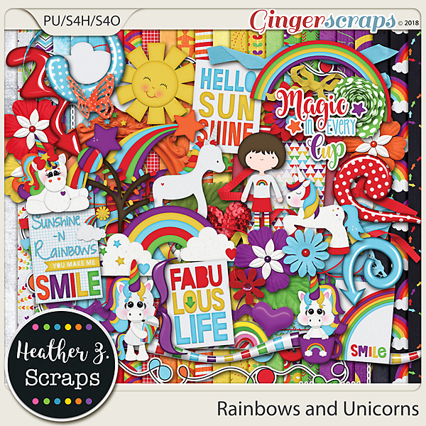 Rainbows and Unicorns FULL KIT by Heather Z Scraps