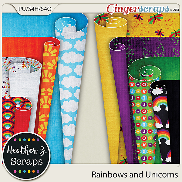 Rainbows and Unicorns PAGE CURLS by Heather Z Scraps