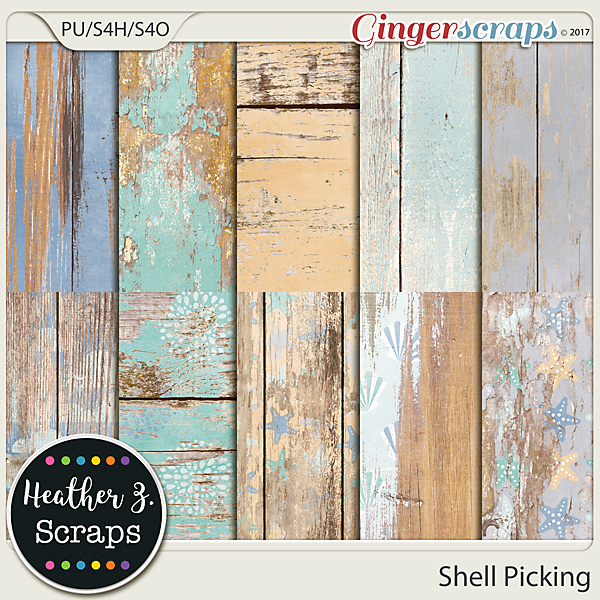 Shell Picking WEATHERED WOOD by Heather Z Scraps