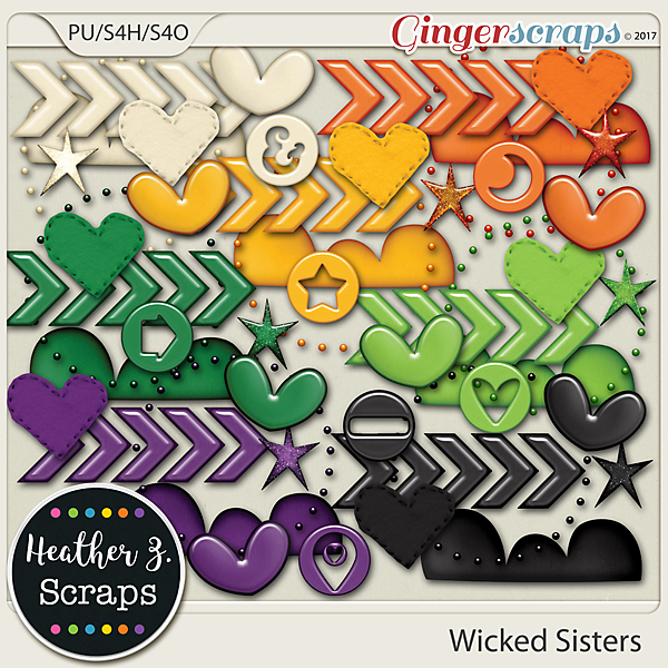 Wicked Sisters ACCENTS by Heather Z Scraps