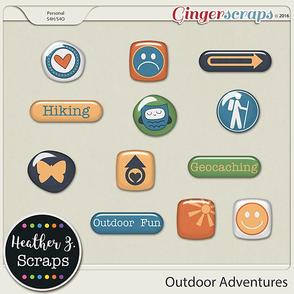 Outdoor Adventures FLAIRS by Heather Z Scraps