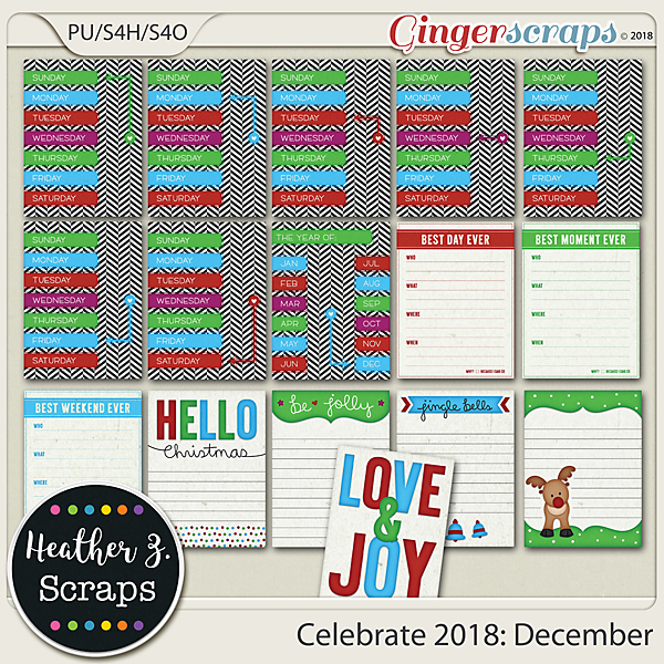 Celebrate 2018: December JOURNAL CARDS by Heather Z Scraps