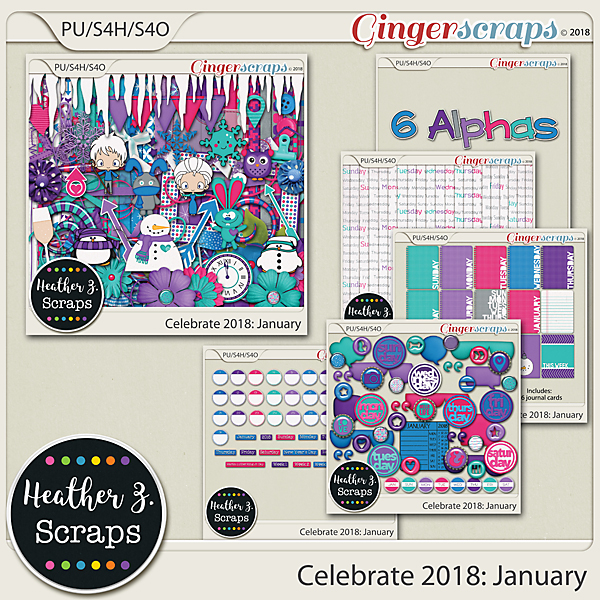 Celebrate 2018: January BUNDLE by Heather Z Scraps