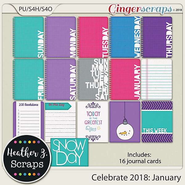 Celebrate 2018: January JOURNAL CARDS by Heather Z Scraps