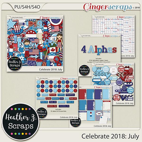 Celebrate 2018: July BUNDLE by Heather Z Scraps