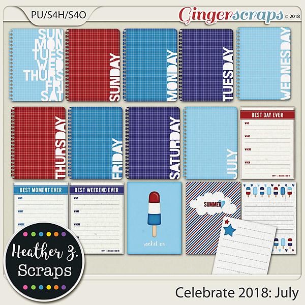 Celebrate 2018: July JOURNAL CARDS by Heather Z Scraps