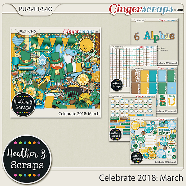 Celebrate 2018: March BUNDLE by Heather Z Scraps