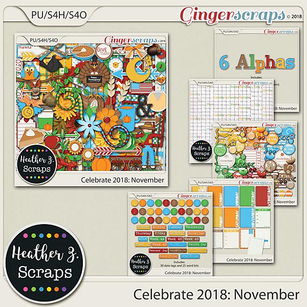 Celebrate 2018: November BUNDLE by Heather Z Scraps