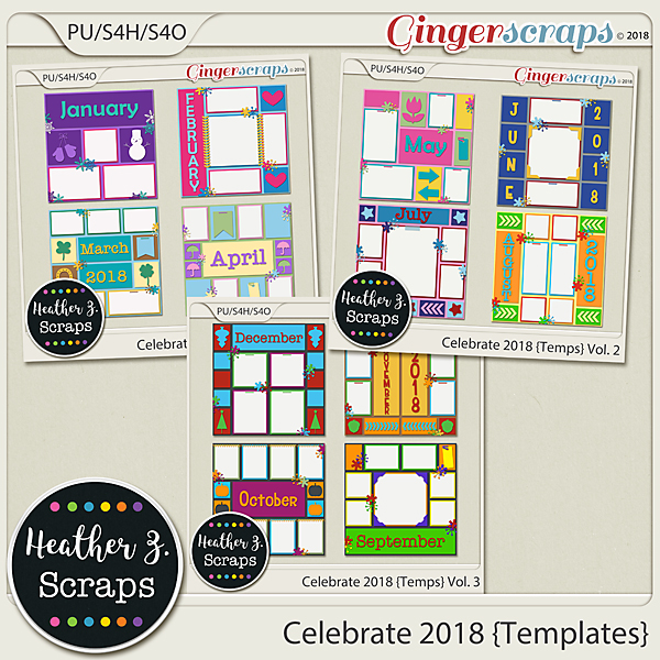 Celebrate 2018 TEMPLATES BUNDLE by Heather Z Scraps