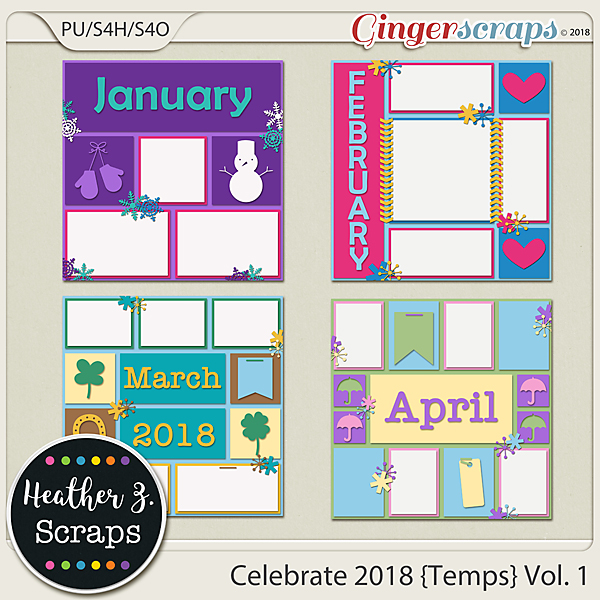 Celebrate 2018 TEMPLATES VOL. 1 by Heather Z Scraps