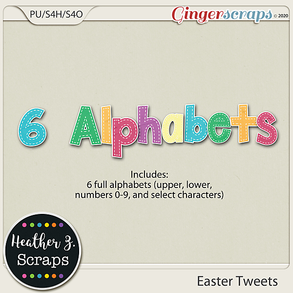 Easter Tweets ALPHABETS by Heather Z Scraps