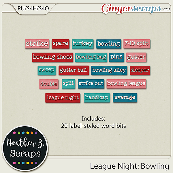 League Night: Bowling WORD BITS by Heather Z Scraps