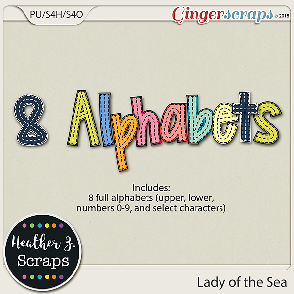 Lady of the Sea ALPHABETS by Heather Z Scraps