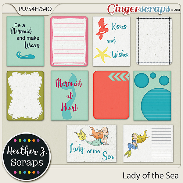 Lady of the Sea JOURNAL CARDS by Heather Z Scraps