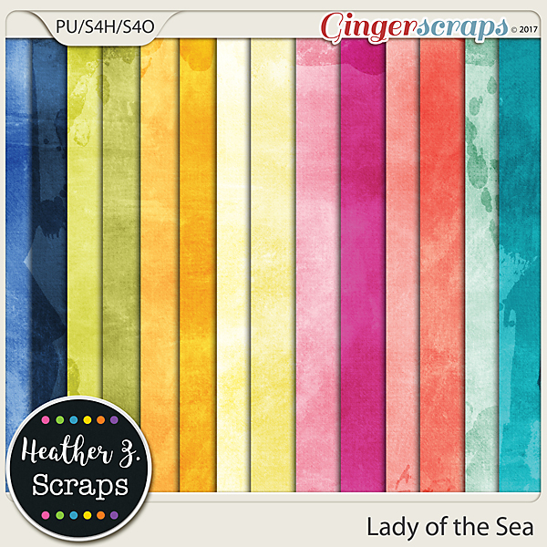Lady of the Sea SOLID PAPERS by Heather Z Scraps