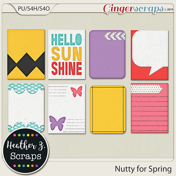 Nutty for Spring JOURNAL CARDS by Heather Z Scraps