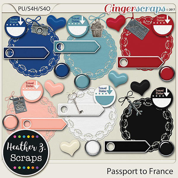 Passport to France ACCENTS by Heather Z Scraps