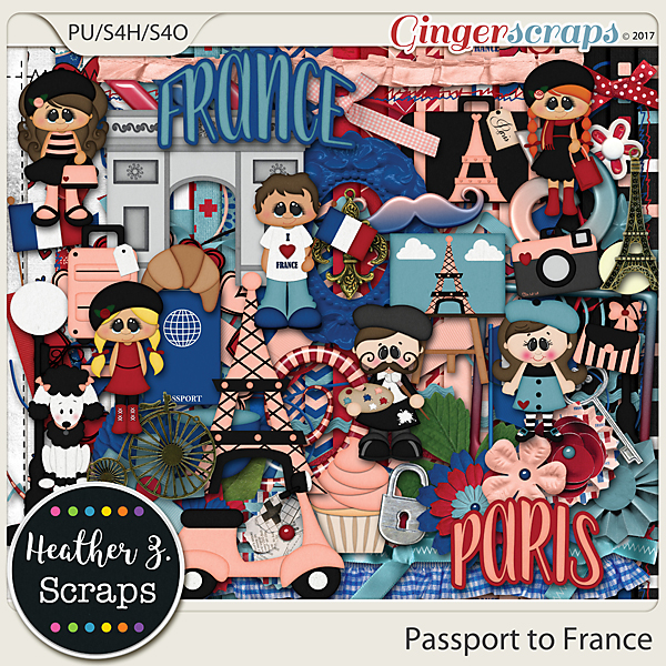 Passport to France KIT by Heather Z Scraps