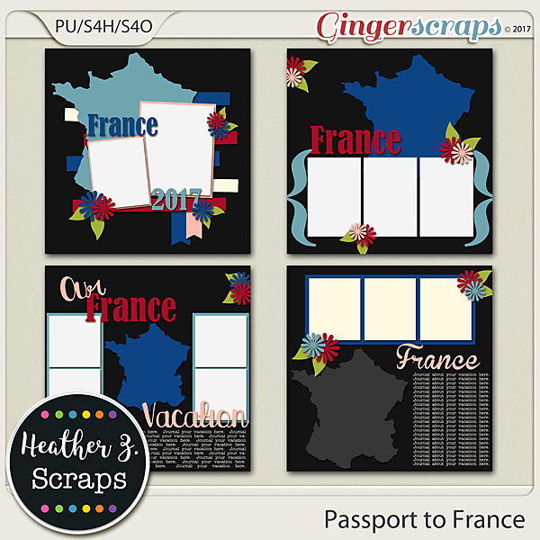 Passport to France TEMPLATES by Heather Z Scraps
