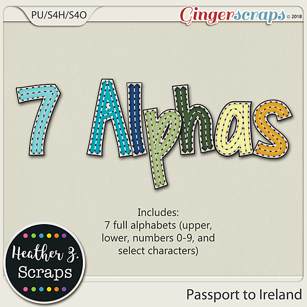 Passport to Ireland ALPHABETS by Heather Z Scraps